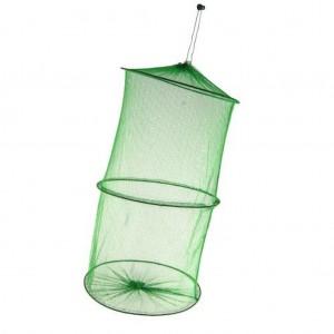 Садок для рыбы круглый зеленый с мелкой сеткой