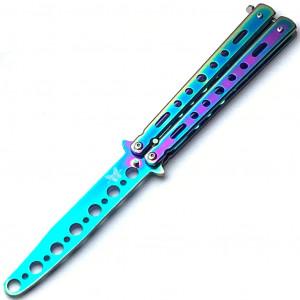 Нож бабочка тренировочный, тупой (не острый) 107 градиент, разноцветный