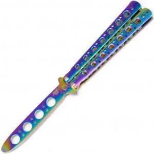 """Нож бабочка тренировочный, тупой (не острый) """"Benchmade"""" градиент, разноцветный"""