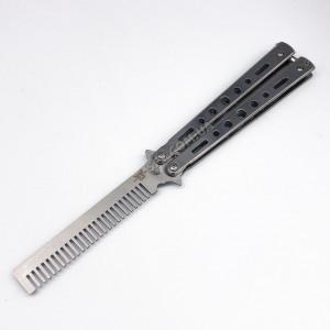 Нож бабочка расческа тренировочный, тупой (не острый) 753 Серый